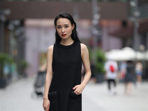 wallpaper black skirt chinese girl street  uhd