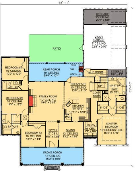 4 Bedroom Louisiana Style Home Plan   56301SM   1st Floor