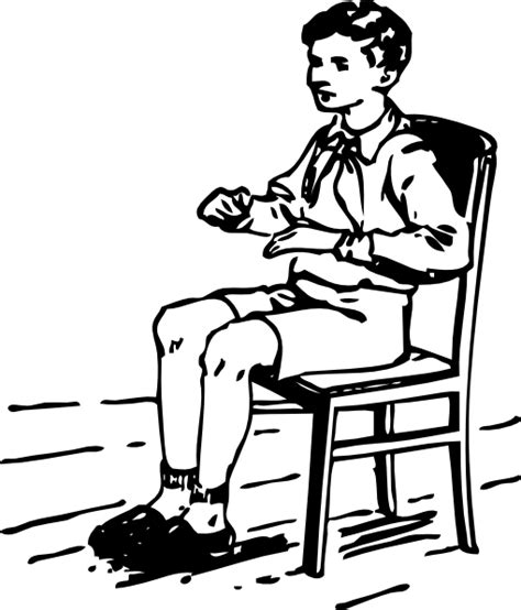 sit nicely clipart black and white boy sitting in chair clip at clker vector clip
