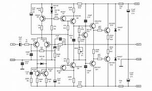 80 Watt Mono 2sc5200 2sa1943 Ultimate Fidelity Amplifier Circuit Schematic