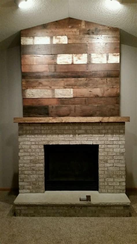 barn wood accent wall  mantel