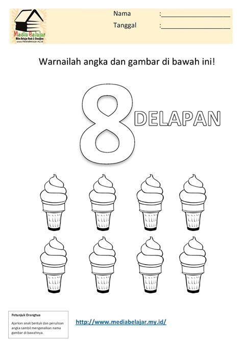mewarnai angka 8 delapan dan mewarnai gambar es krim