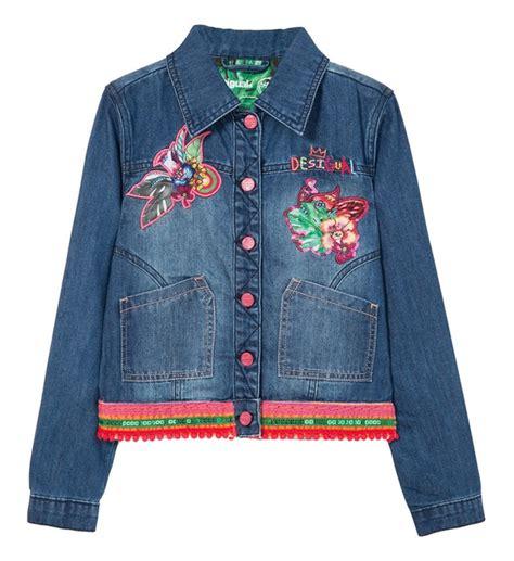 veste en jean troué veste en jean puqui desigual en bleu pour fille galeries