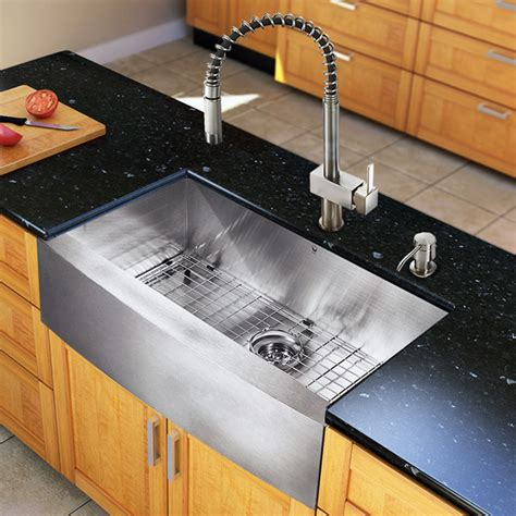 kitchen sink with faucet set vg15128 all in one 33 inch farmhouse kitchen sink and