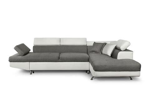 canapé angle tissu convertible canapé d 39 angle en simili cuir et tissu droit blanc gris