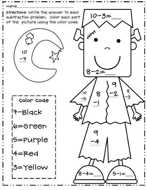 halloween subtraction color  number frankpdf