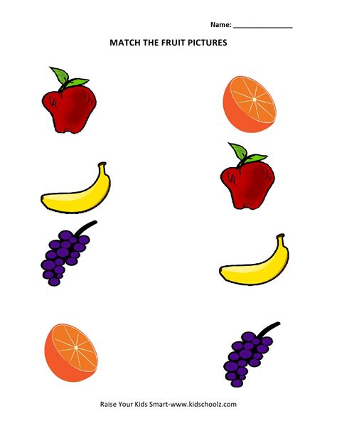 Picture Matching Worksheets  Fruits  Summmer Vacation  Pinterest  Preschool Activities
