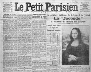 La Joconde Est Dans L Escalier Histoire Des Arts the front page of a newspaper with news of the theft of