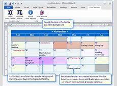 Create a Period & Fertility calendar in Word or Excel