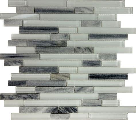 Sample Gray White Glass Natural Stone Linear Mosaic Tile