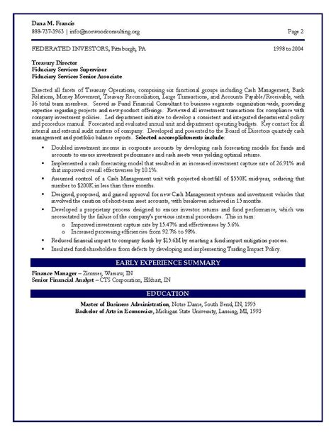 Vp Resume Sles Finance by Sle Resume December 2014