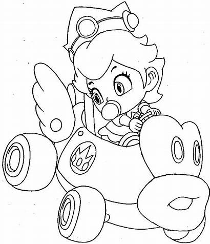 Mario Kart Coloring Peach Princess Bros Coloriage