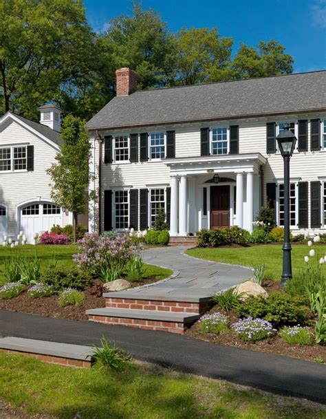 colonial house landscaping colonial revival traditional exterior boston by jan gleysteen architects inc