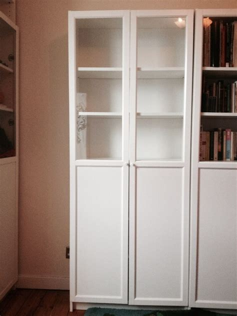 ikea billy oxberg bookcase upper  glass doors