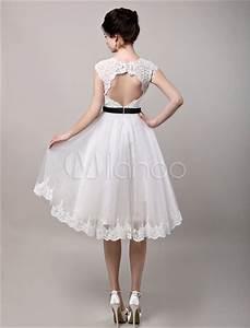 robe mariee a ligne dentelle ivoire longueur mollet With robe de mariée longueur mollet