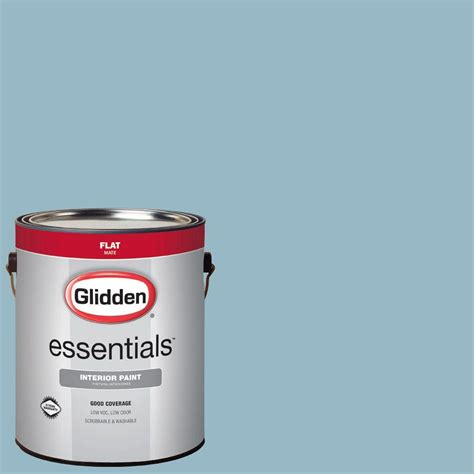 glidden essentials 1 gal hdgb50 soft rococo blue flat interior paint hdgb50e 01fn the home depot