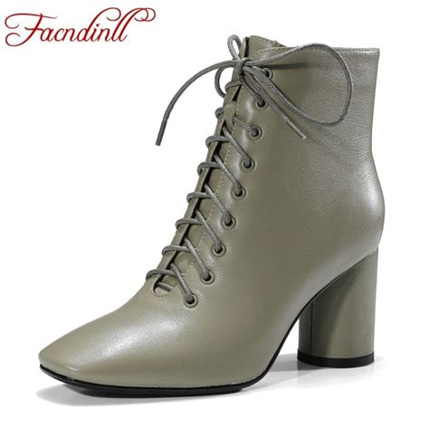 Facndinll New Fashion Genuine Leather Women Ankle Boots