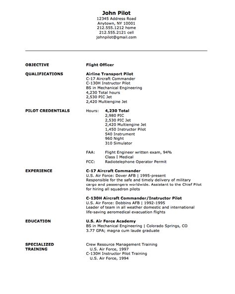 flight officer resume sle resumes design
