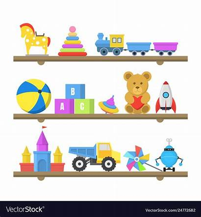 Cartoon Toys Shelves Vector Royalty
