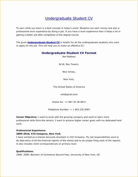 Undergraduate Cv Exle by 5 Undergraduate Student Cv Free Sles Exles