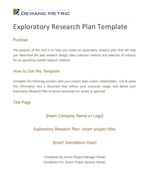 research plan template exploratory research plan template