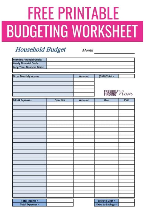 budget worksheet printable template business psd