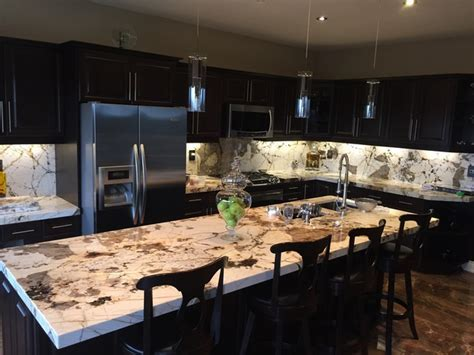 Blanc du blanc granite kitchen, island and backsplash