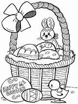 Easter Coloring Cute Pages Basket Print sketch template