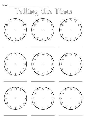 blank clocks worksheet teaching resources