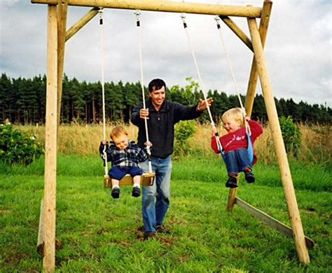 Play Swing by Swing Frame Wooden Garden Play Equipment