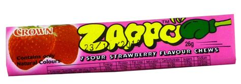 zappo strawberry chews lolly sour packs unit display crown single browse flavour flavoured confectionery