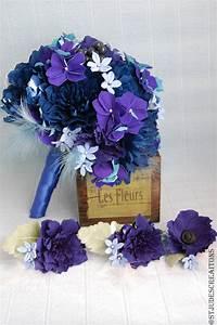 midnight royal blue wedding bouquet paper flowers ...  Blue