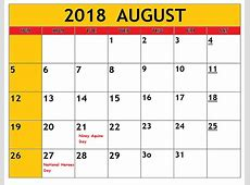 August Calendar 2018 Philippines Free Printable Template
