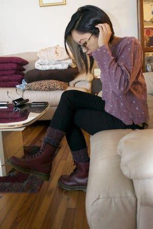 crimson dr martens boots black justusa jeans deep purple socks purples  misstiem