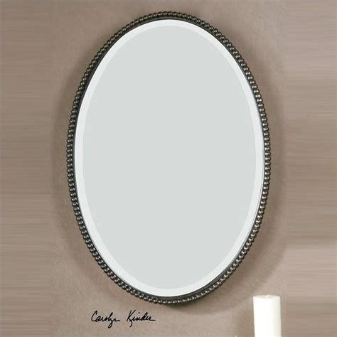 Uttermost Sherise Beaded Metal Oval Wall Mirror In Light