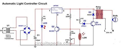 Automatic Night Lamp Controller Light Operated Switch Circuit