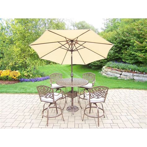 7 patio dining set with umbrella oakland living 7 aluminum patio bar height dining
