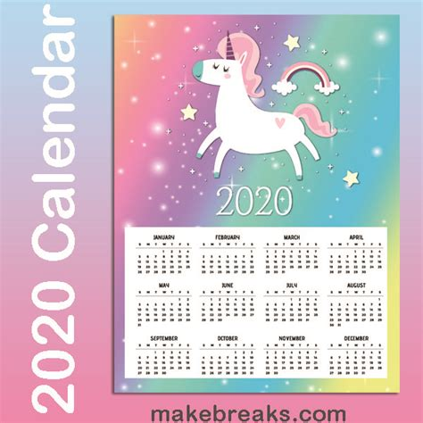 printable unicorn  page  calendar  breaks