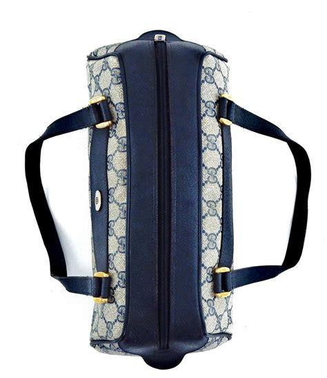 gucci vintage barrel tote blue supreme gg monogram canvas leather shoulder bag tradesy