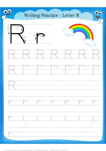 letter    rainbow handwriting practice worksheet