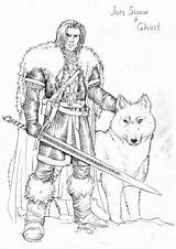Thrones Ghost Jon Snow Coloring Drawing Adult Rubusthebarbarian Ice Fire Deviantart Song Giannis Characters sketch template