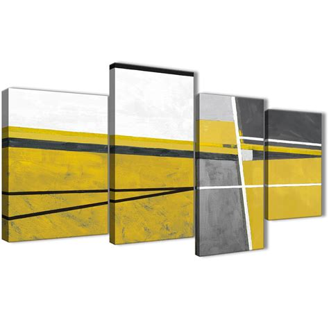 large mustard yellow grey painting abstract living room canvas wall decor 4388 130cm set