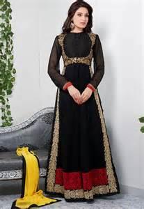 Lamps Buy by Buy Glamorous Black Color Full Length Georgette Anarkali
