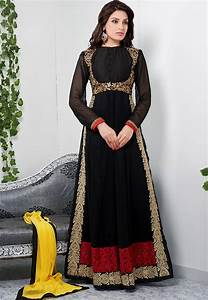 Buy Glamorous black color full length georgette anarkali