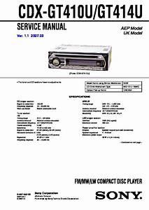 Sony Cdx-gt410u  Cdx-gt414u Service Manual