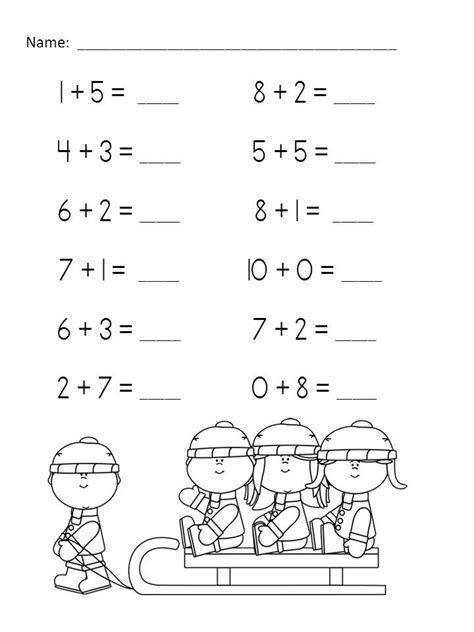 wonderful winter addition practice packet sums of 6 10