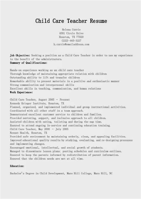 resume   early childhood teacher