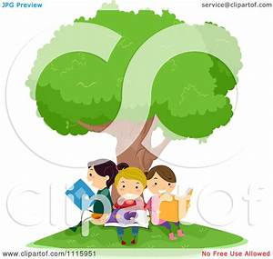 Clipart Happy Kids Reading Under A Tree - Royalty Free ...