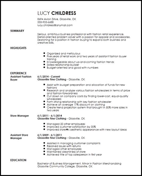Assistant Buyer Resume by Free Professional Fashion Assistant Buyer Resume Template