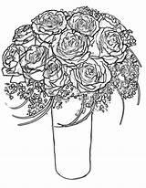 Coloring Roses Rose Bouquet Printable Bunch Hearts Drawing Wife Border Wings Getdrawings Getcolorings Colorings sketch template